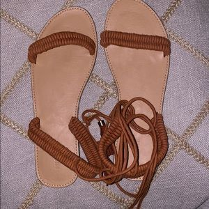 Long strap sandals Color: Rust Size: 9, never worn